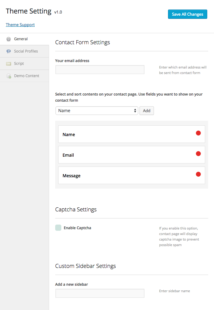 Theme Setting > General for contact form settings captcha and custom sidebar
